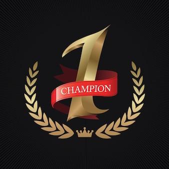 Champion, nummer eins gold mit rotem band