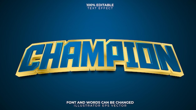 Champion texteffekt voll editierbar blau gold glänzend
