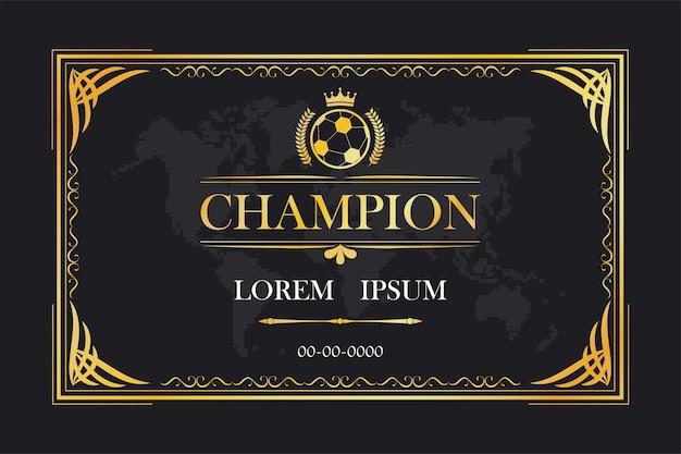 Champion zertifizierungskarte rahmen vorlage vintage retro luxus