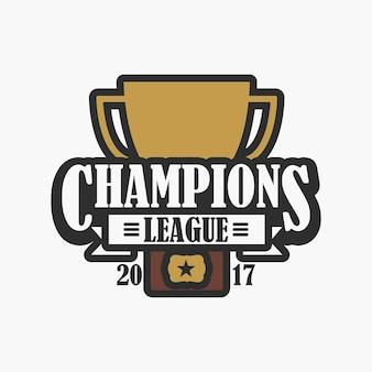 Champions league, sportlogo. design des emblems mit trophäenbecher. vektor-illustration.