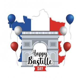 Champs elyses mit ballonen und frankreich-karte