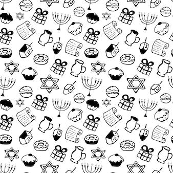 Chanukka. eine reihe traditioneller attribute der menora, dreidel, kerzen, olivenöl, tora, donuts im doodle-stil. nahtloses muster