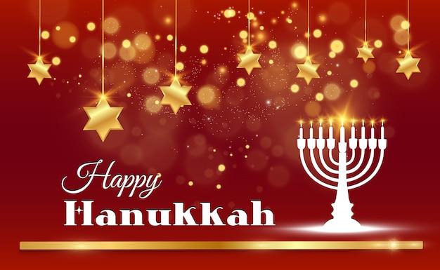 Chanukka-grußkarte auf einem schönen hintergrund mit davidsternen und einem israelischen kerzenhalter.