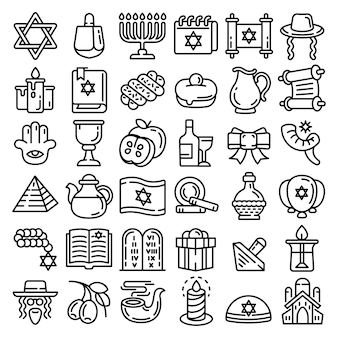 Chanukka-icon-set. umreißsatz von chanukka-vektorikonen für das webdesign lokalisiert