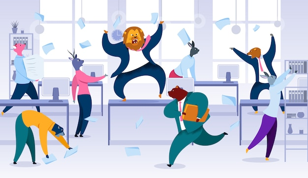 Chaos im büro, projekttermin, kontrolle verlieren