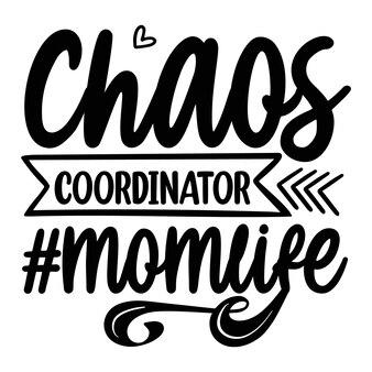Chaos-koordinator momlife schriftzug einzigartigen stil premium-vektor-design-datei