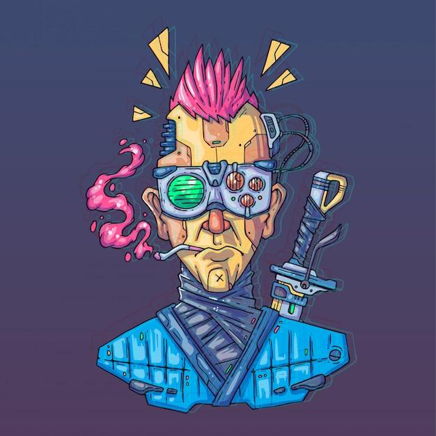 Character face im futuristischen virtuellen stil. cyber punk illustration. cartoon-kunst für web und druck. trendy cyber art.