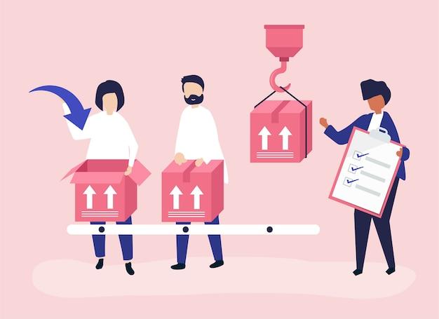 Character illustration von menschen mit paketen für den versand