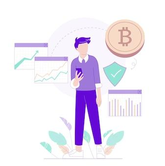 Charakter auf trading-charts und bitcoin-hintergrund