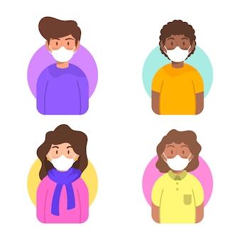 Charakter-avatar mit medizinischen masken
