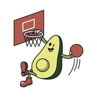 Charakter-avocado, die basketball-illustration spielt