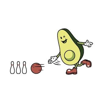 Charakter-avocado, die bowlingspiel-illustration spielt