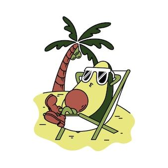 Charakter-avocado entspannen sich grafische illustration