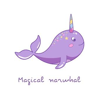 Charakter baby einhorn narwal illustration