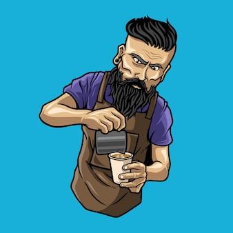 Charakter barista mann kaffee cappuccino