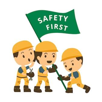 Charakter bau arbeit halten flagge sicherheit zuerst.