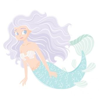 Charakter cartoon meerjungfrau