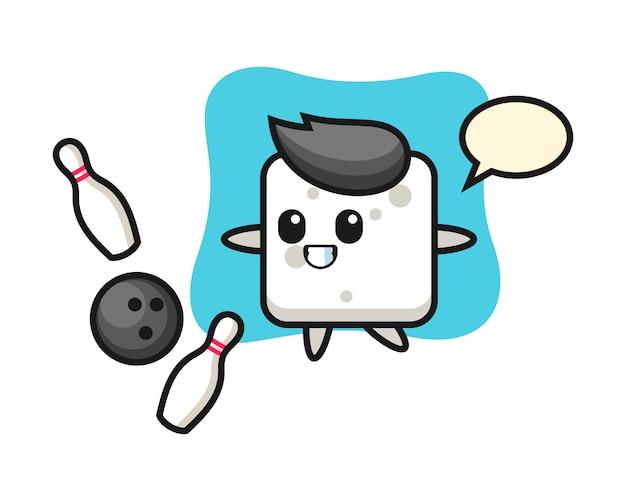Charakter cartoon von zuckerwürfel spielt bowling, niedlichen stil für t-shirt, aufkleber, logo-element