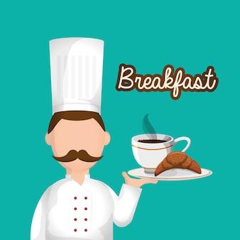 Charakter chef frühstück tablett essen