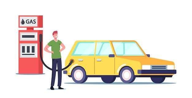 Charakter, der das auto an der tankstelle füllt, das kraftstoff in das fahrzeug gießt. petroleum tanking automobil, transport benzinservice für fahrer. benzol-ring-formel, cartoon-leute-vektor-illustration