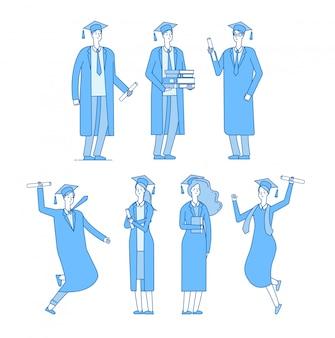 Charakter der doktoranden. studentengruppe absolventen der high school absolvierte junge männliche frau in akademischen gewand. lineare menge