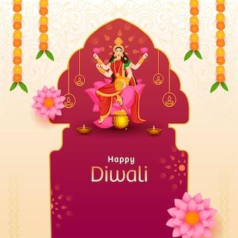 Charakter der göttin lakshmi auf lotusblume mit beleuchteten öllampen (diya) und blumengirlande (toran) für glückliches diwali-konzept.