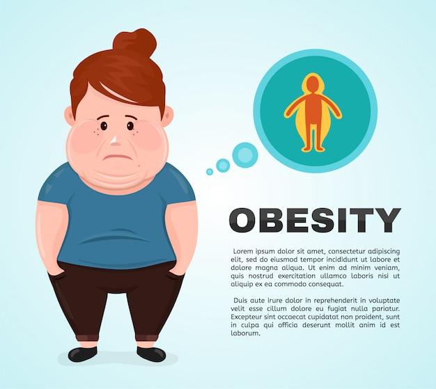 Charakter der jungen frau der flachen vektorillustration mit einer infografikikone der fettleibigkeit.