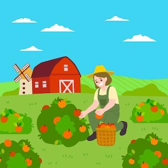 Charakter, der konzept des biologischen landbaus veranschaulicht