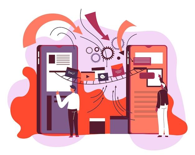 Charakter, der mit medien und modernen geräten interagiert. technologien und computer, smartphones und pfeile, die die verbindung im system anzeigen. anwendung auf zelle für persönlichkeiten. vektor im flachen stil