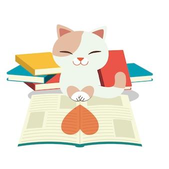 Charakter der niedlichen katze, die ein buch liest