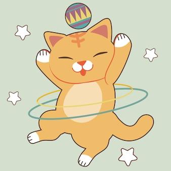 Charakter der niedlichen katzenshow, die den hula-hoop-reifen auf grün spielt