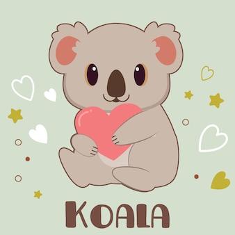 Charakter der niedlichen koala umarmt ein herz in grün