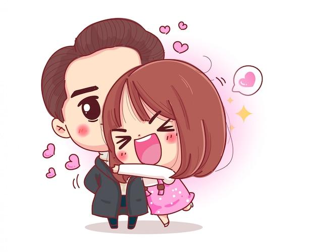Charakter der romantischen paarumarmung mit glücklichem valentinstagkonzept lokalisiert auf weißem hintergrund.