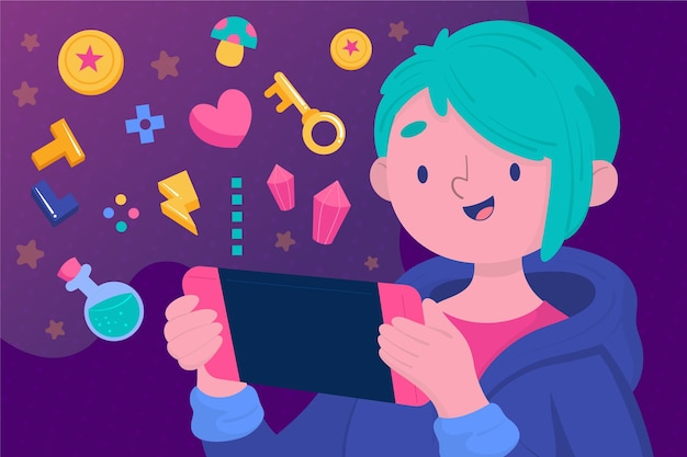 Charakter, der videospiel spielt