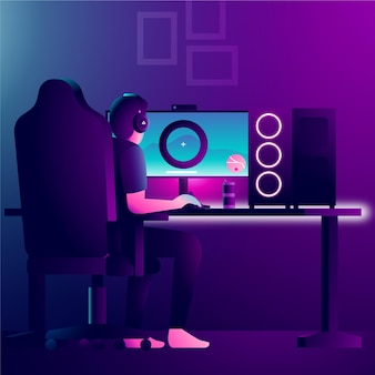 Charakter, der videospiele auf modernem computer spielt