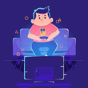Charakter, der videospielkonzept spielt