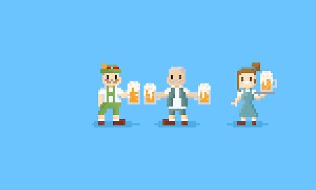 Charakter des alten mannes des pixels, der den großen bierkrug hält