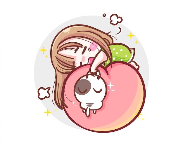 Charakter des arbeitenden harten mädchens schlafend auf pfirsich auf weißem hintergrund mit erschöpftem konzept.