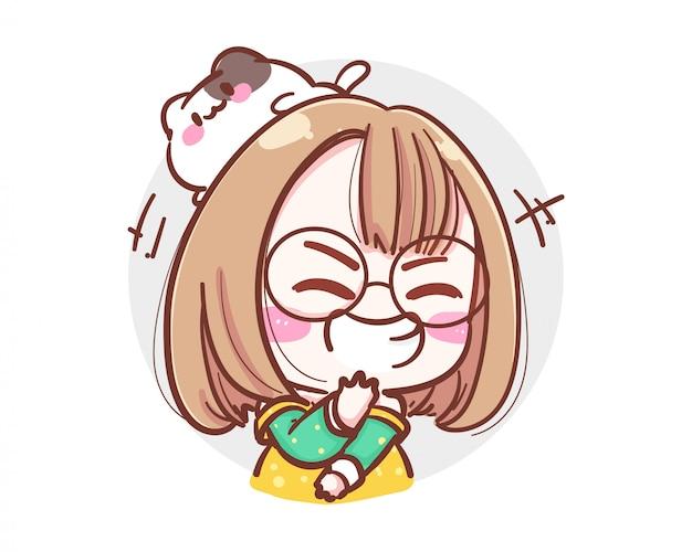 Charakter des glücklichen mädchens, das laut auf weißem hintergrund mit verrücktem lachkonzept lacht.
