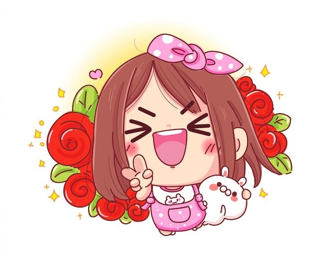 Charakter des glücklichen mädchens und des weißen kaninchens mit der schönen roten rose oder dem blumenstrauß lokalisiert auf weißem hintergrund.