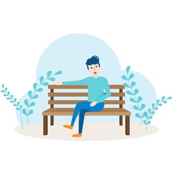 Charakter des jungen mannes, der auf bank in der öffentlichen parkgarten-karikaturillustration sitzt und sich entspannt.