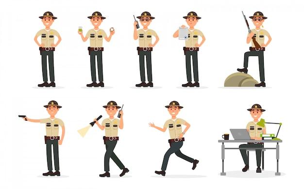 Charakter des männlichen sheriff-polizeibeamten der stadt in der offiziellen uniform, polizist, der zivilurteil-illustration auf einem weißen hintergrund ausführt