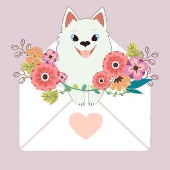 Charakter des netten samoyedhundes, der im buchstaben mit herzaufkleber und -blume auf lila sitzt