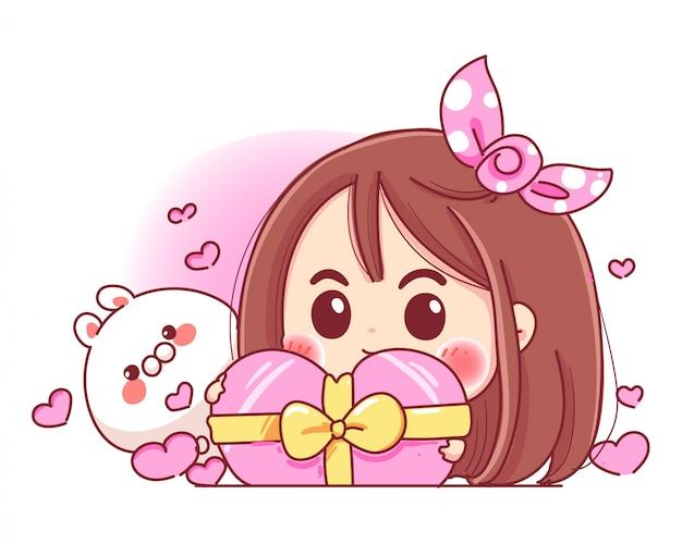 Charakter des niedlichen mädchens und des weißen kaninchens, das rosa herz-geschenkbox mit romantischem valentinstag spielt, lokalisiert auf weißem hintergrund.