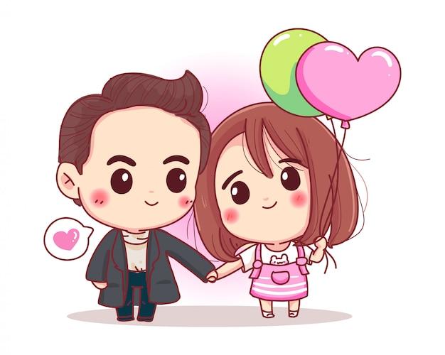 Charakter des romantischen paares hält hände zusammen mit glücklichem valentinstagliebhaberkonzept lokalisiert auf weißem hintergrund.