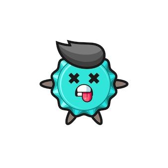Charakter des süßen flaschenverschlusses mit toter pose, süßes design für t-shirt, aufkleber, logo-element