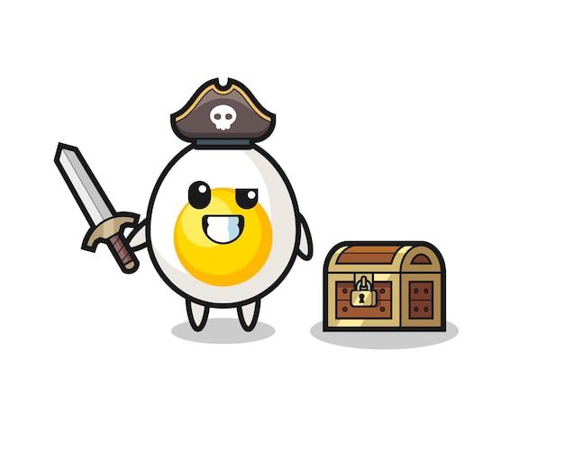 Charakter des süßen gekochten eies mit toter pose, süßes design für t-shirt, aufkleber, logo-element
