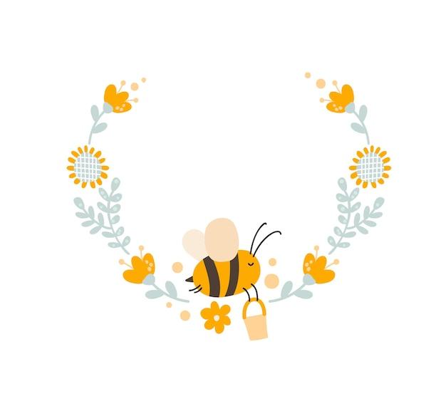 Charakter des süßen kinderbienenhonigs mit blumenkranz im flachen skandinavischen stil.