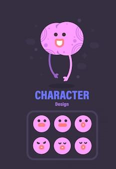 Charakter-design . gehirncharakter. gehirn-vektor-illustration
