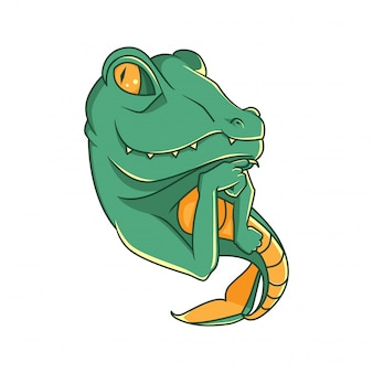 Charakter-designvektor der krokodilmeerjungfrau-illustration netter